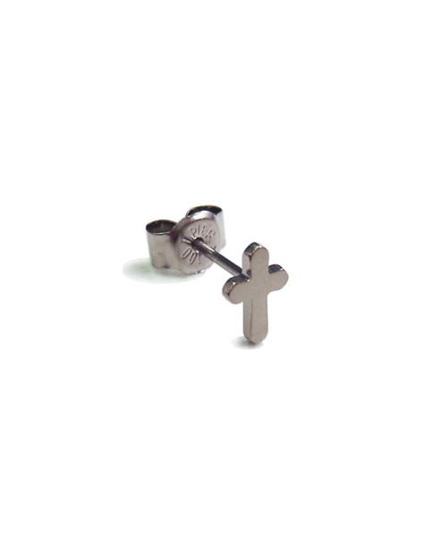 [For one ear] Domestic pure titanium earrings cross platinum [Horie / H-1-TP702-01]