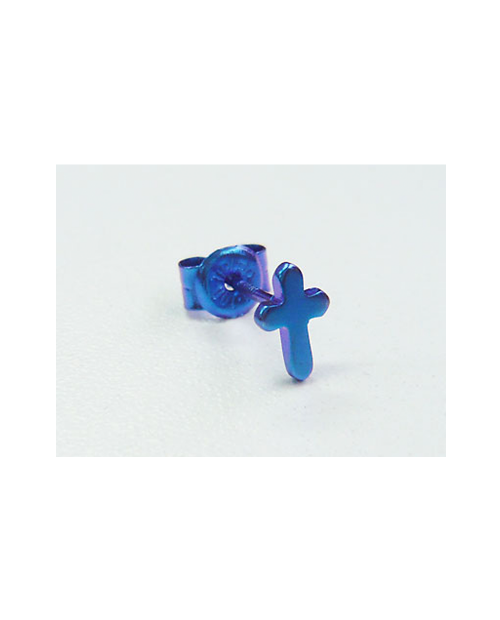 [For one ear] Domestic pure titanium earrings cross blue [Horie / H-1-TP702-07]