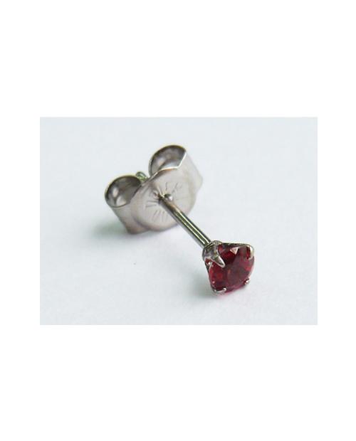 [For one ear] Domestic pure titanium earrings garnet cut [Horie / H-1-TP8005]