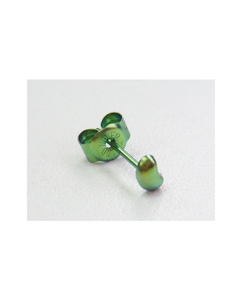 [For one ear] Domestic pure titanium earrings Beans floral green [Horie / H-1-TP801-10]