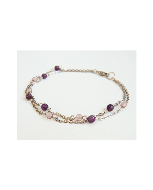 Domestic pure titanium anklet two amethyst [Horie / H-A-TBS310]
