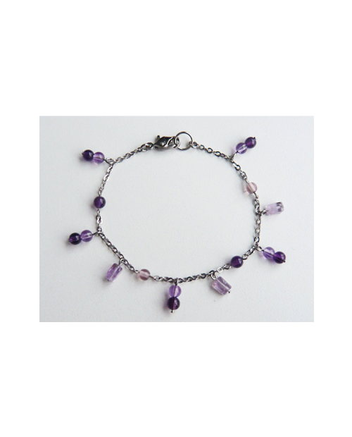 Domestic Pure Titanium Anklet Amethyst 【Horie / H-A-TBS 311】