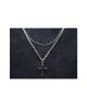 Domestic pure titanium necklace double (cross) [Horie / H-CT-N201]