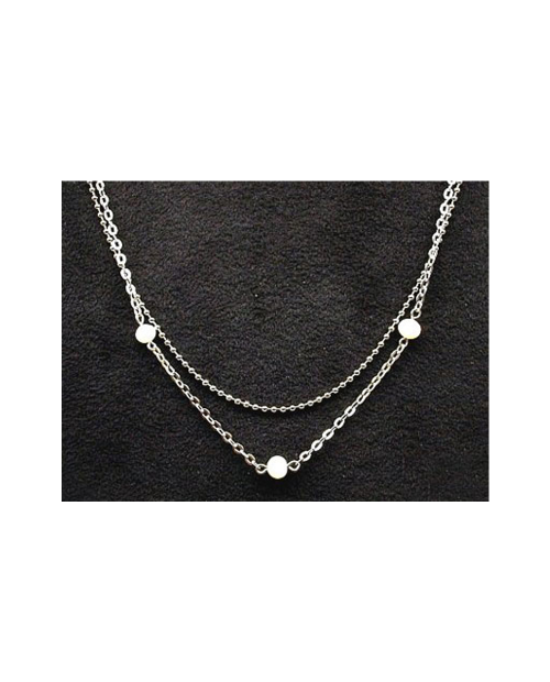 Domestic pure titanium necklace double (pearl) [Horie / H-CT-N202]