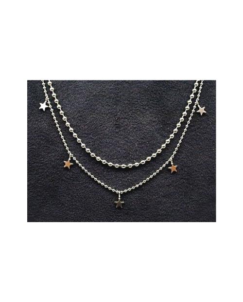 Domestic pure titanium necklace double (star) [Horie / H-CT-N203]