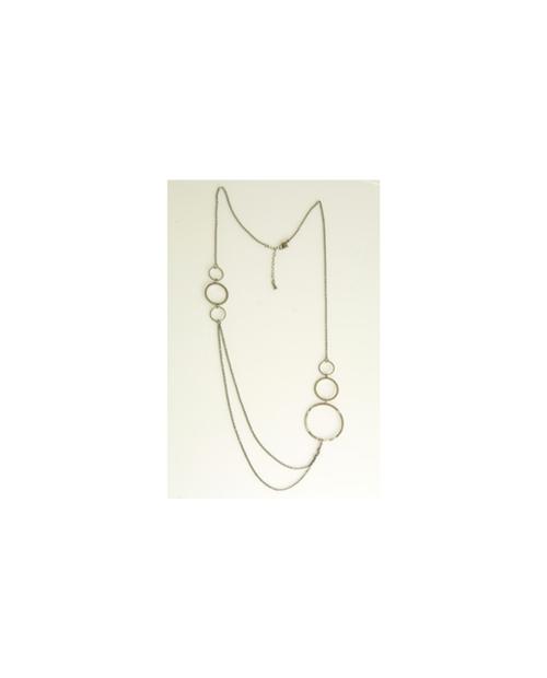 Domestic pure titanium long necklace circle W [Horie / H-CT-N601]