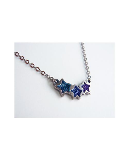 Titanium necklace (mesh) Star 3 stations Blue [Horie / Horie]