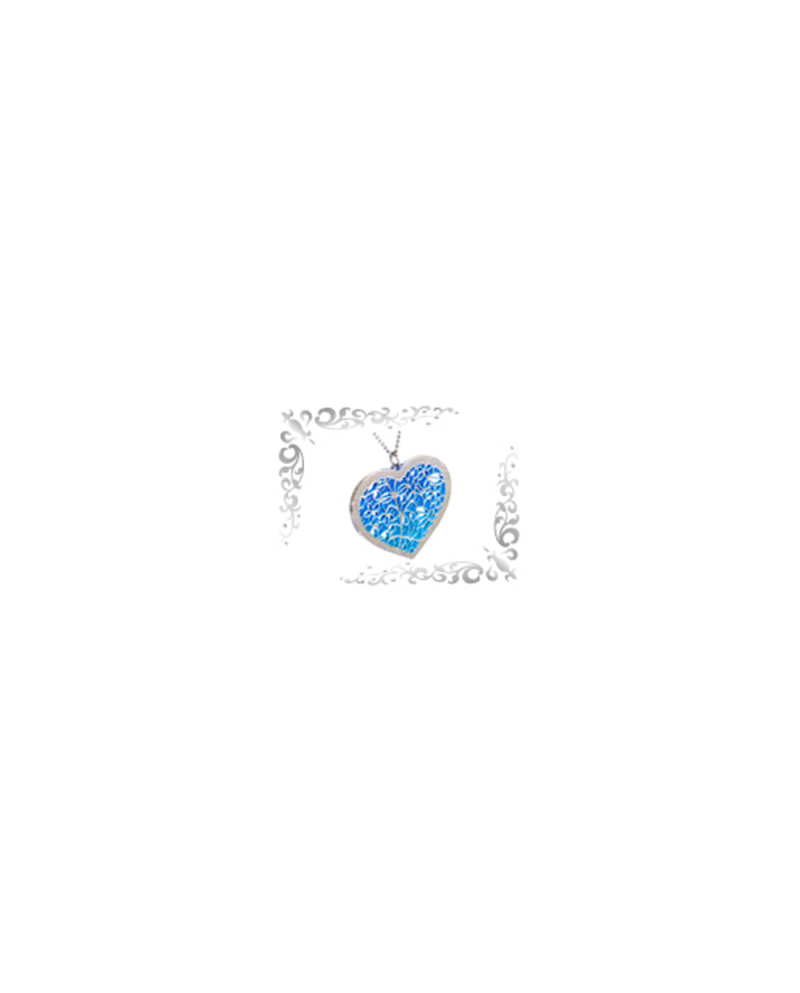 Titanium necklace (mesh) Heart (Ivy) Blue [Horie / Horie]