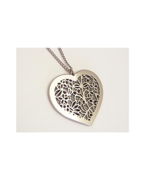 Domestic pure titanium necklace (mesh) Heart (Ivy) Silver [Horie / H-MF-04-SLV]