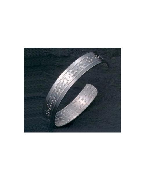 Domestic Pure Titanium Bracelet [Bangle Type] David's Star Bless [Horie / H-TB-02]