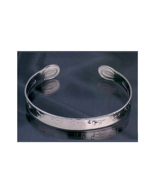 Domestic Pure Titanium Bracelet [Bangle Type] Horse Bless [Horie / H-TB-04]