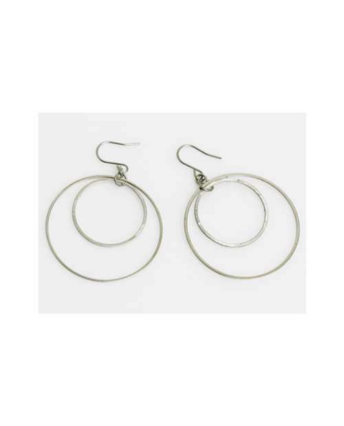 Domestic Pure Titanium Hook Earrings Circle C (Crystal Hana Finish) [Horie / H-TP603R]