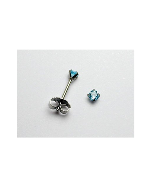 Domestic pure titanium earrings blue topaz cut [Horie / H-TP8001]