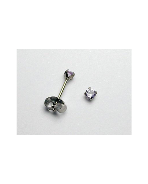 Domestic pure titanium earrings amethyst cut [Horie / H-TP8002]
