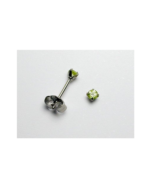 Domestic pure titanium earrings peridot cut [Horie / H-TP8003]
