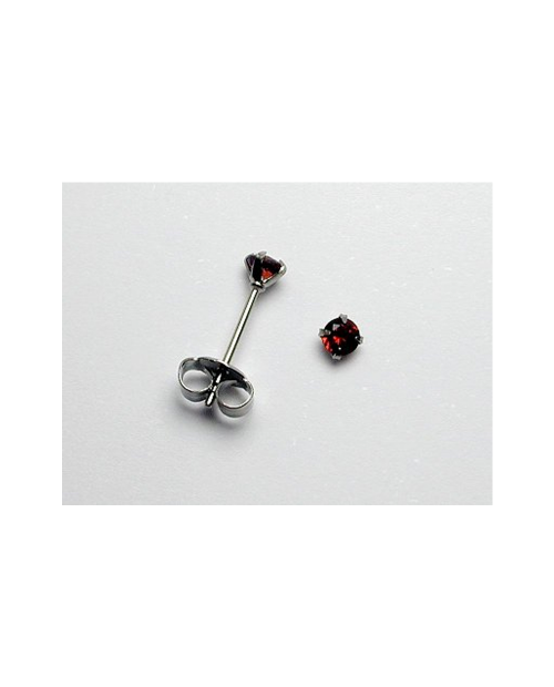 Domestic pure titanium earrings garnet cut [Horie / H-TP8005]