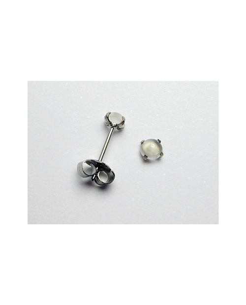 Domestic Pure Titanium Earrings Moonstone [Horie / H-TP8101]