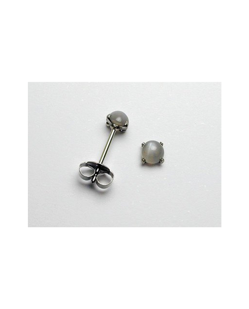 Domestic pure titanium earrings Gray Moonstone [Horie / H-TP8102]