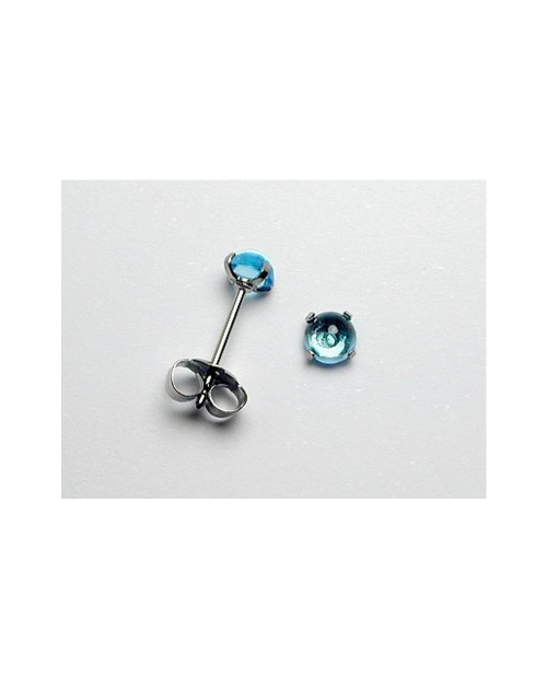 Domestic pure titanium earrings Blue Topaz [Horie / H-TP8105]
