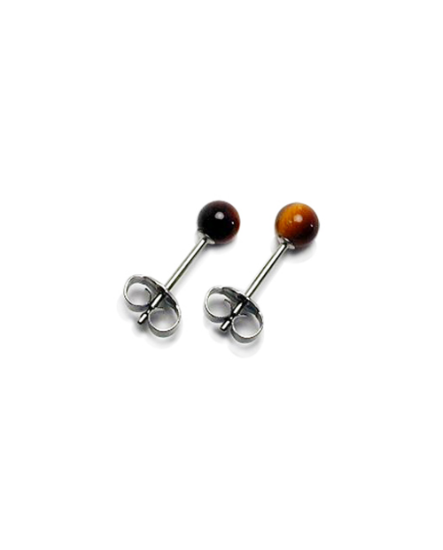 Domestic pure titanium earrings Tiger eyeball [Horie / H-TP8205]