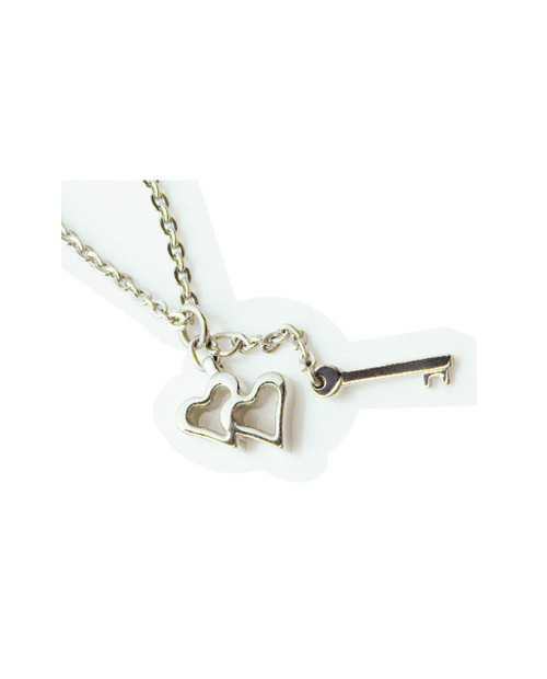 Pure Titanium Necklace Heart & Key / Platinum [Male / MARE-31]