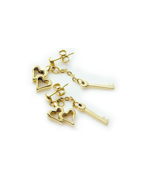 Pure Titanium Earrings Heart & Key / Gold [Mare / MARE-32]