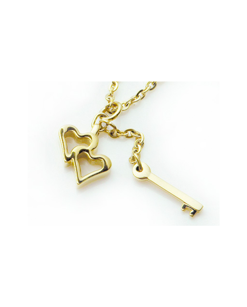 Pure Titanium Necklace Heart & Key / Gold [Mare / MARE-33]