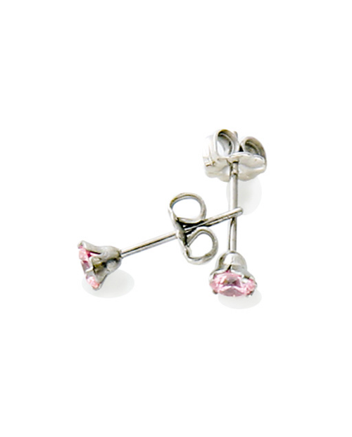 Pure Titanium Earrings 4mm Cubic Zirconia / Pink [Male / MARE-36]
