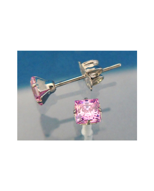 Pure Titanium Earrings 4mm Square CZ / Pink [MARE-71]