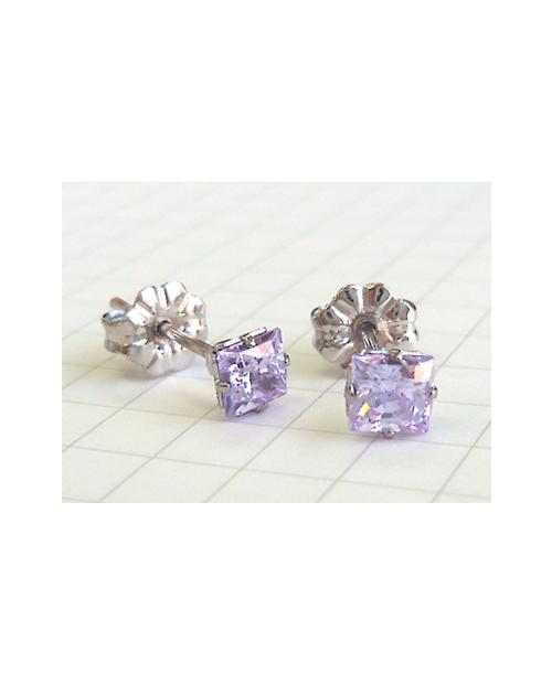 Pure Titanium Earrings 4mm Square CZ / Lavender [MARE-72]