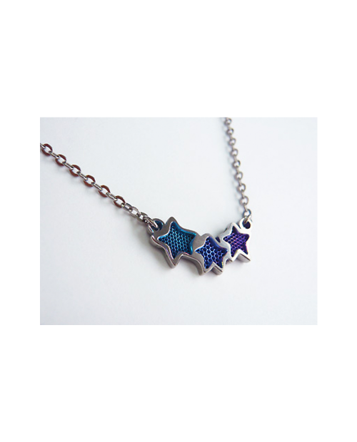 Titanium necklace (mesh) Star 3 stations Blue [Horie / Horie]