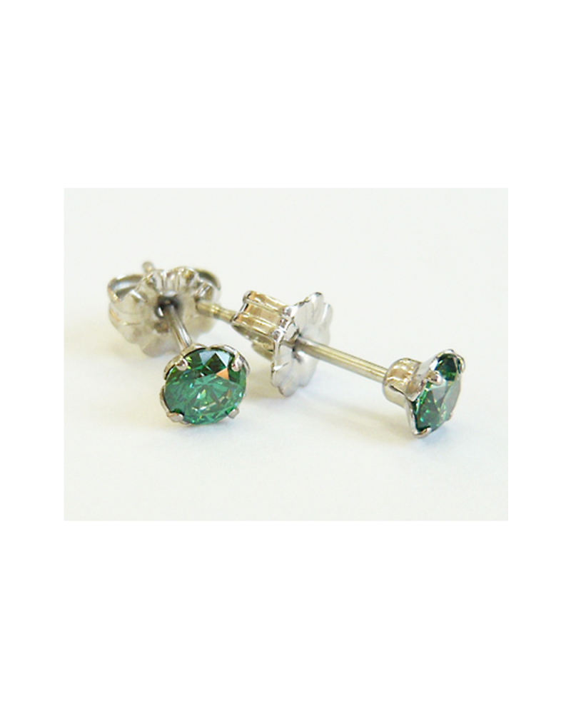 Pure Titanium Earrings 4mm Cubic Zirconia / Green [MARE-69]