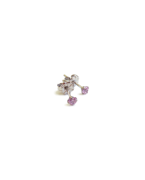 Outlet Sale Pure Titanium Earrings 3mm Cubic Zirconia / Pink [MARE-65]